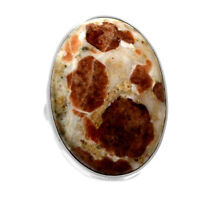 Spessartine Garnet In Limestone 925 Sterling Silver Ring Jewelry s.6.5 RR201263