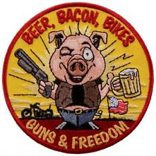 Beer Bacon Bikes and Guns Freedom Patch [3.5 X 3.5 - iron on Sew on Patch - P74]