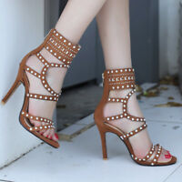 Women Gladiator Sandals Fashion Open Toe Suede Stiletto High Heel Pumps Shoes
