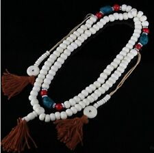 Large Tibetan Turquoise Red Coral 108 Yak Bone Prayer Beads Mala Necklace -30""