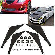 Universal Front Bumper Lip Splitter Fins Body Spoiler Canards Valence Chin Hot^