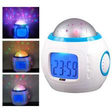 Digital Alarm Clock Calendar Kids Music LED Star Sky Projection Lamp
