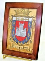 Framed Antique Print Crest of Arms Touraine Loire Valley France