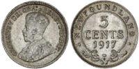 1917 C Canada NEWFOUNDLAND Silver 5 Cents KM# 13  NGC MS61 RARE Grade