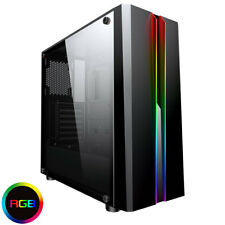 CiT Zoom Gaming PC Computer Case Midi ATX Tower USB 3.0 RGB LED Tempered Glass