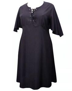 Women's short Black Dress Plus Size 18/20 22/24 26/28 30/32 lace up Tunic 342