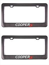 2X Carbon Fiber CooperS License Plate Holder Cover Frame Cap For Mini Cooper