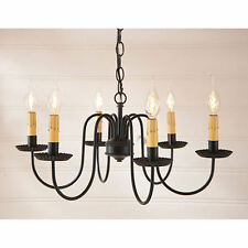 Irvins Tinware Sheraton Six Arm Light Metal Chandelier Black NEW