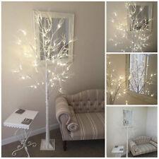 SHABBY CHIC 96 LED  6FT WHITE GLITTER PRE LIT CHRISTMAS WEDDING TWIG XMAS TREE