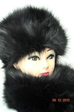 Black Hat with Shawl Scarf BLACK Premium faux fur