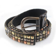 Callashop Handmade Leather Black Spike studded Vintage Jean Belt Waistband