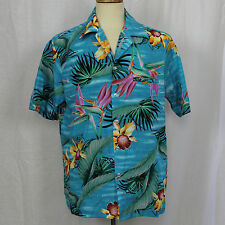 Hilo Hattie Hawaii Camp 100% Polyester Aloha Floral Shirt Size Large L EUC