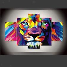 Canvas Painting Oil Print Color Lion Wall Art Picture Home Hotel Deco 5pcs L