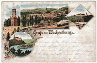 Ansichtskarte Gruss aus Wechselburg - Brücke / Rochsburg / Bahnhof - 1897