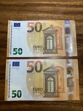 (50) EURO  BANKNOTE Circulated In Good Condition. 100 Euros Total, 2x(50)