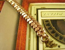 RARE 40s Pink Gold Fill Fancy Art Deco C-ring Ladies Stretch Cocktail Watch Band