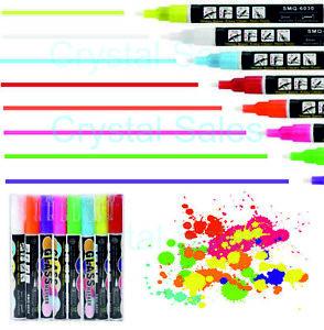 YELLOW Liquid Chalk Pens Colours Neon Fluorescent Glass Marker Blackboard Glass