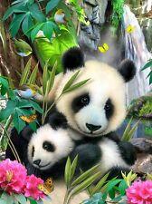 3D Picture Art panda & cub butterflies birds flowers Size 39 x 29 cm approx New