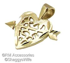 Heart & Arrow Charm / Pendant EP Gold Plated Jewelry with a Lifetime Guarantee