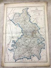 Antique Map Cambridgeshire Cambridge England 19th Century Old Hand Coloured