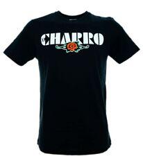 T-Shirt El Charro Classic Nera con Rosa Stampata