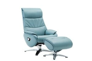Leather Sofa Recliner Chair Adjustable Luxury Armchair Lounge Mint Blue