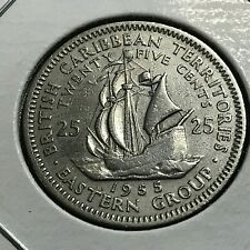 1955 EASTERN CARIBBEAN 25 CENTS SAILING SHIP