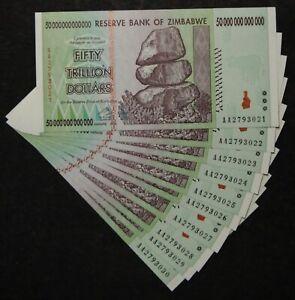 10 x ZIMBABWE 50 TRILLION BANKNOTE TRILLIONEN UNC / unzirkuliert/bankfrisch
