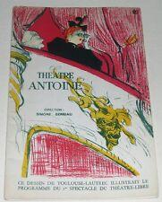 Programme Théâtre ANTOINE - 1ère de couverture illustration de TOULOUSE-LAUTREC