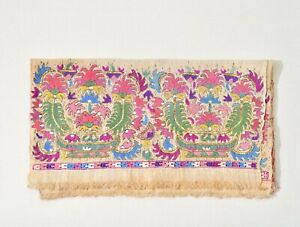 Antique Turkish Embroidery with Metallic Threads and Metal Accents; 19th Century Floral Embroidery Panel; 1800s Silk and Metal Flower Motif