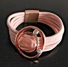 Armband Damen Leder Bänder Magnetverschluss NEU rosa Metall