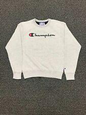New Mens Champion Crew Neck Fashion Logo Script Pull Over Sweater