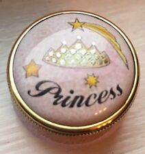 Staffordshire Pink Princess With Stars and Crown Small Enamel Pill Box