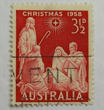 Postage Stamp Australia Christmas 1958 Pre-Dec Nativity Scene Red 3 1/2d VGC 37