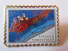 1991 29¢ Santa and Sleigh SLED #2585 Stamp Pinback Postage Mail USPS pin NEW
