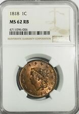 1818 Large Cent Ngc Ms62 Rb - Beautiful Coin