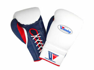WINNING Boxing Gloves MS-600 WHITE NAVY RED Lace Up Pro Type Training 16oz NEW