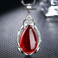 Gifts For Her Ruby Red Stone Necklace Xmas Couple Girlfriend Lover Ladies Women