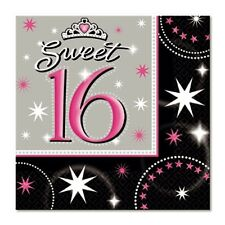 """""""16TH BIRTHDAY CELEBRATIONS""""   Pack of 16 - Sweet 16 Sparkle Table Napkins!"""