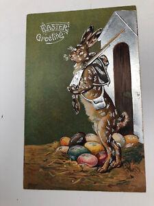 Rare 1909 easter greetings rabbit holding gun postcard Antique