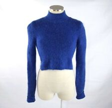 Vtg 90s EXPRESS Blue Fuzzy Mohair Cropped Turtleneck  Stretch Sweater Jumper XS