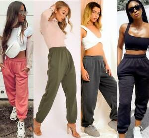Women Casual Sweatpants Oversized Joggers Tracksuit Bottoms Sporty Elastic UK