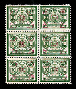 STATE OF NEW YORK STOCK TRANSFER TAX STAMP 10¢ BLOCK OF 6 MNH-OG (PERF 11)