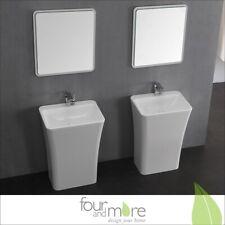Mineralguss Waschbecken Waschsäule Waschtisch in weiß + Spiegel 271-00-W2-85