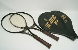 Pair of Prince Pro Tennis Racquets 4 1/2 Grip Black with original Head Covers
