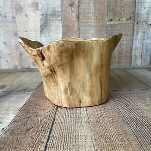 Large Knotty Wood Tree Stump Bowl Container Planter