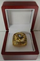 Mario Lemieux - 1991 Pittsburgh Penguins Stanley Cup Hockey Ring WITH Wooden Box