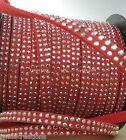 1M Cordon Daim Textile Plat 5X1,3mm/ Suedine ROUGE LEGER Strassée ARGENTE # DS14