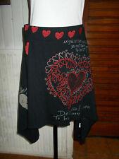 Jupe coton noir DESIGUAL 61F28B1 L 44/46 coeur rouge taille elastique