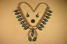 NAVAJO Turquoise Squash Blossom Necklace Earrings, Louise Yazzie, HUGE, Pristine